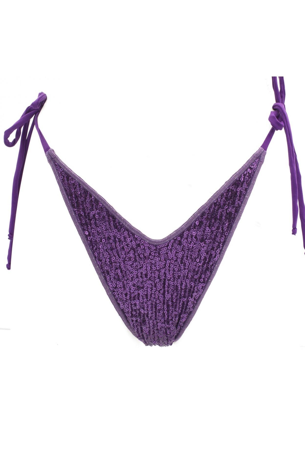 shine violet brasiliana laccio costume donna lurex pailettes viola