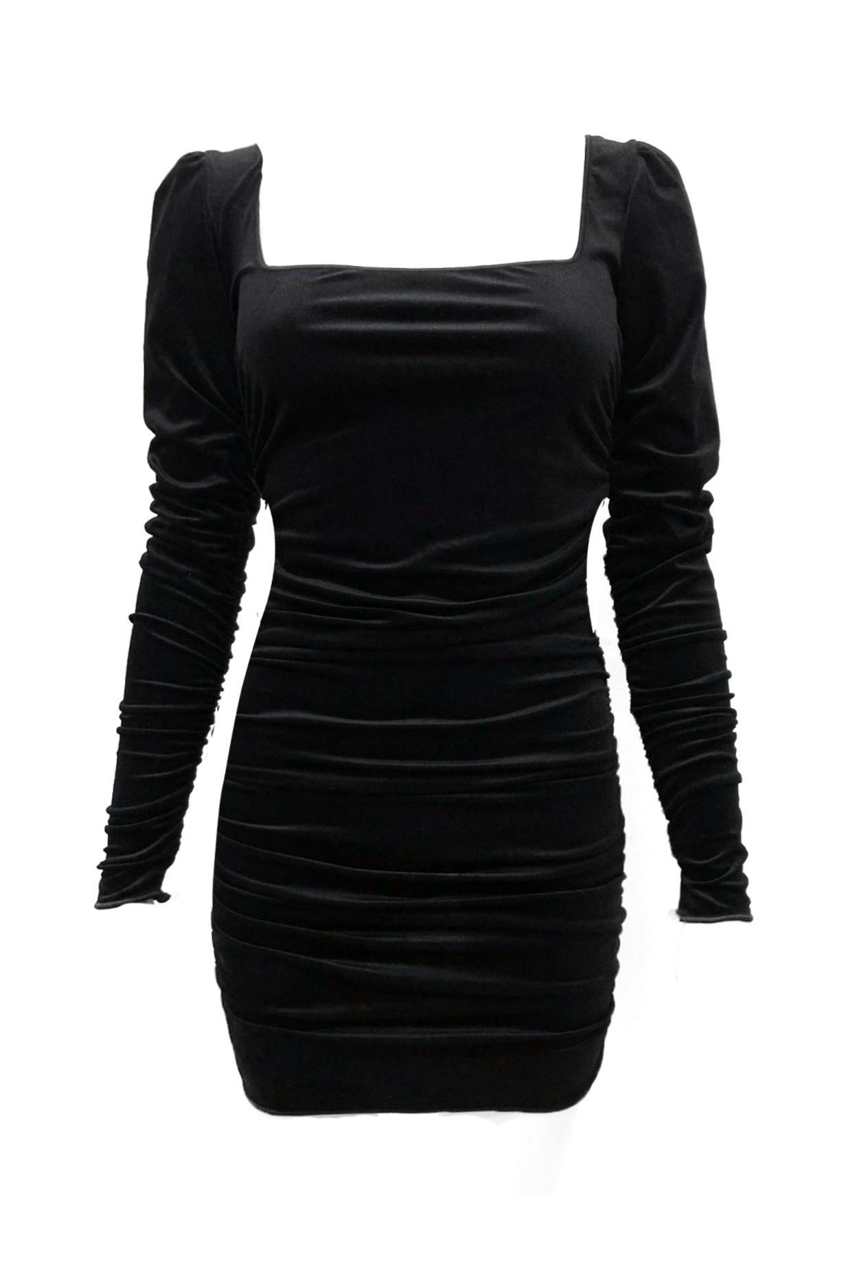 abito velour nero donna