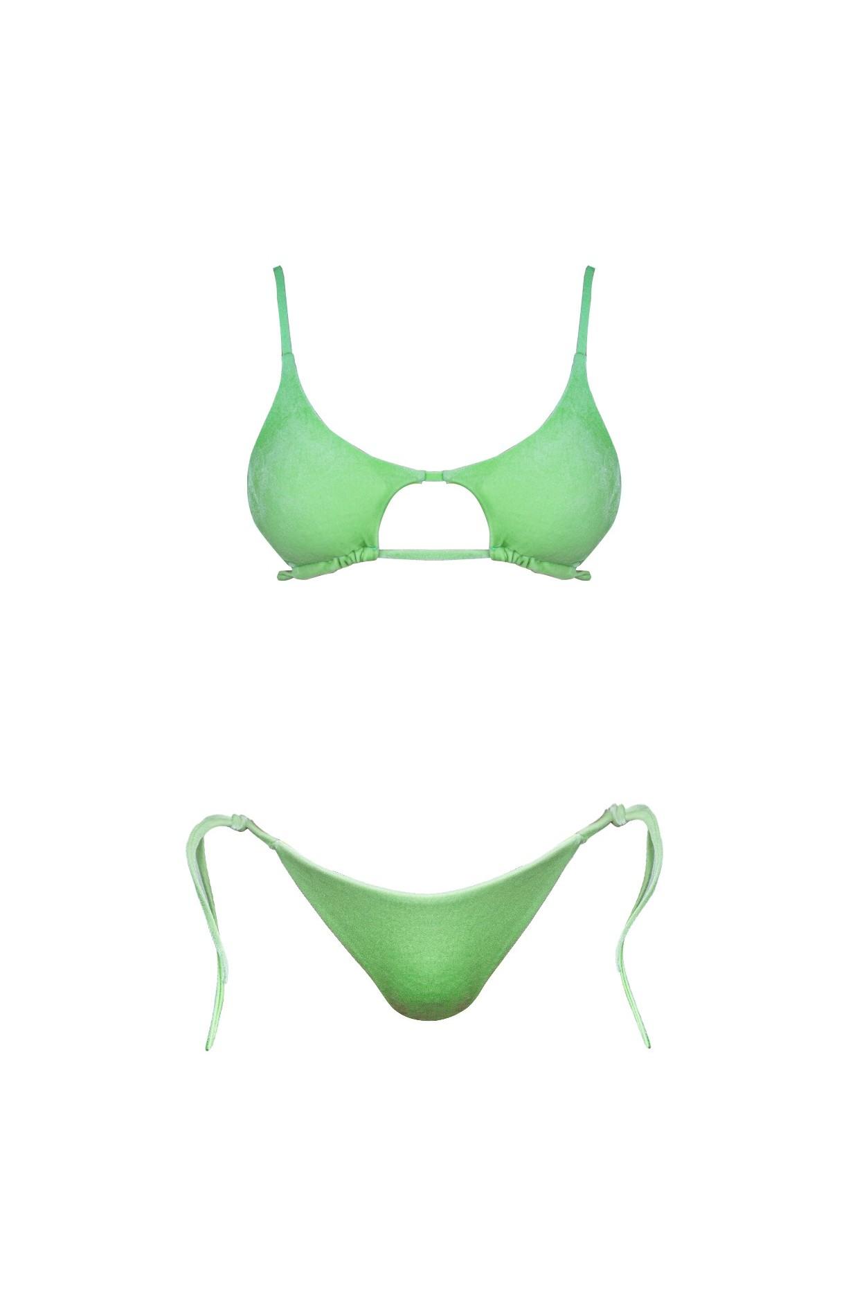 femi green corpetto + slip laccio costume donna